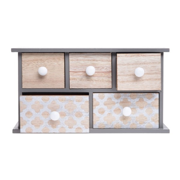 Dřevěná skříňka s 5 šuplíky Ewax Doroto, 24 x 9 x 13 cm