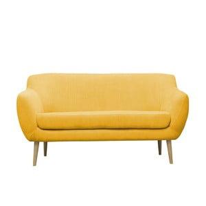 Žlutá trojmístná pohovka se světlými nohami Mazzini Sofas Sardaigne