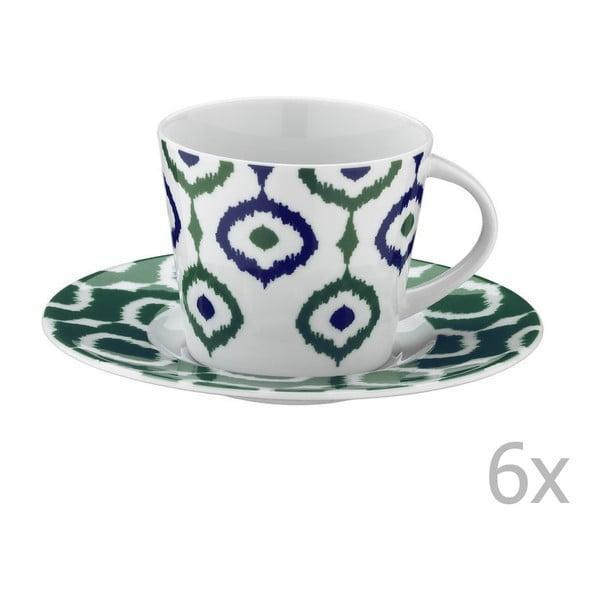Zestaw 6 filiżanek porcelanowych do herbaty ze spodkami Tatiana