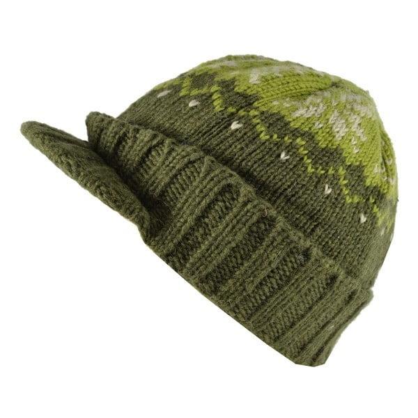 Vlněná čepice s kšiltem Zelená vločka