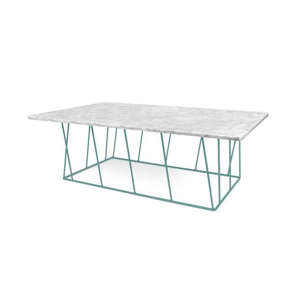 Bílý mramorový konferenční stolek se zelenými nohami TemaHome Helix, 120 cm