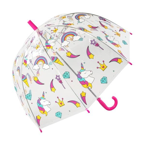 Umbrelă transparentă pentru copii rezistentă la vânt Ambiance Unicorn, ⌀72cm