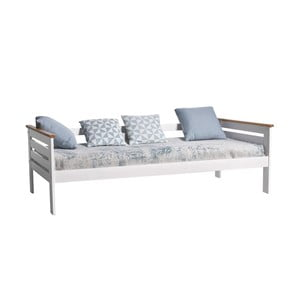Bílá jednolůžková postel z masivního borovicového dřeva Marckeric Alba, 90x190cm