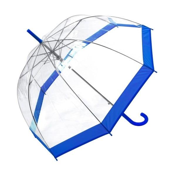Transparentný dáždnik s modrými detailmi Birdcage Border, ⌀85 cm