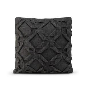 Černý vlněný povlak na polštář HF Living Felt Structured, 50x50cm