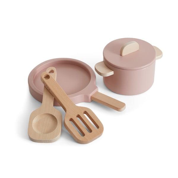 Sada dreveného detského riadu Flexa Toys Pot & Pan
