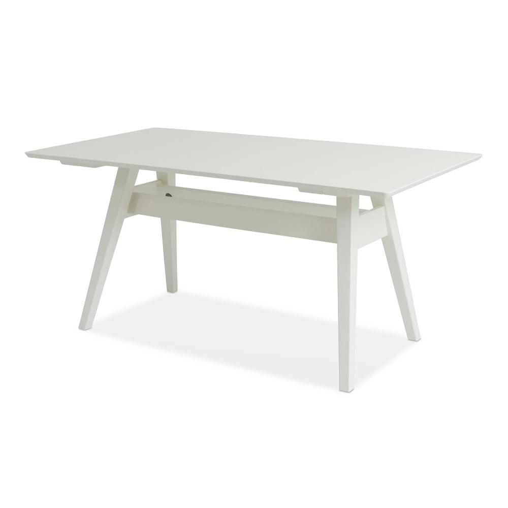 Bílý ručně vyráběný jídelní stůl z masivního březového dřeva Kiteen Notte, 75x140cm