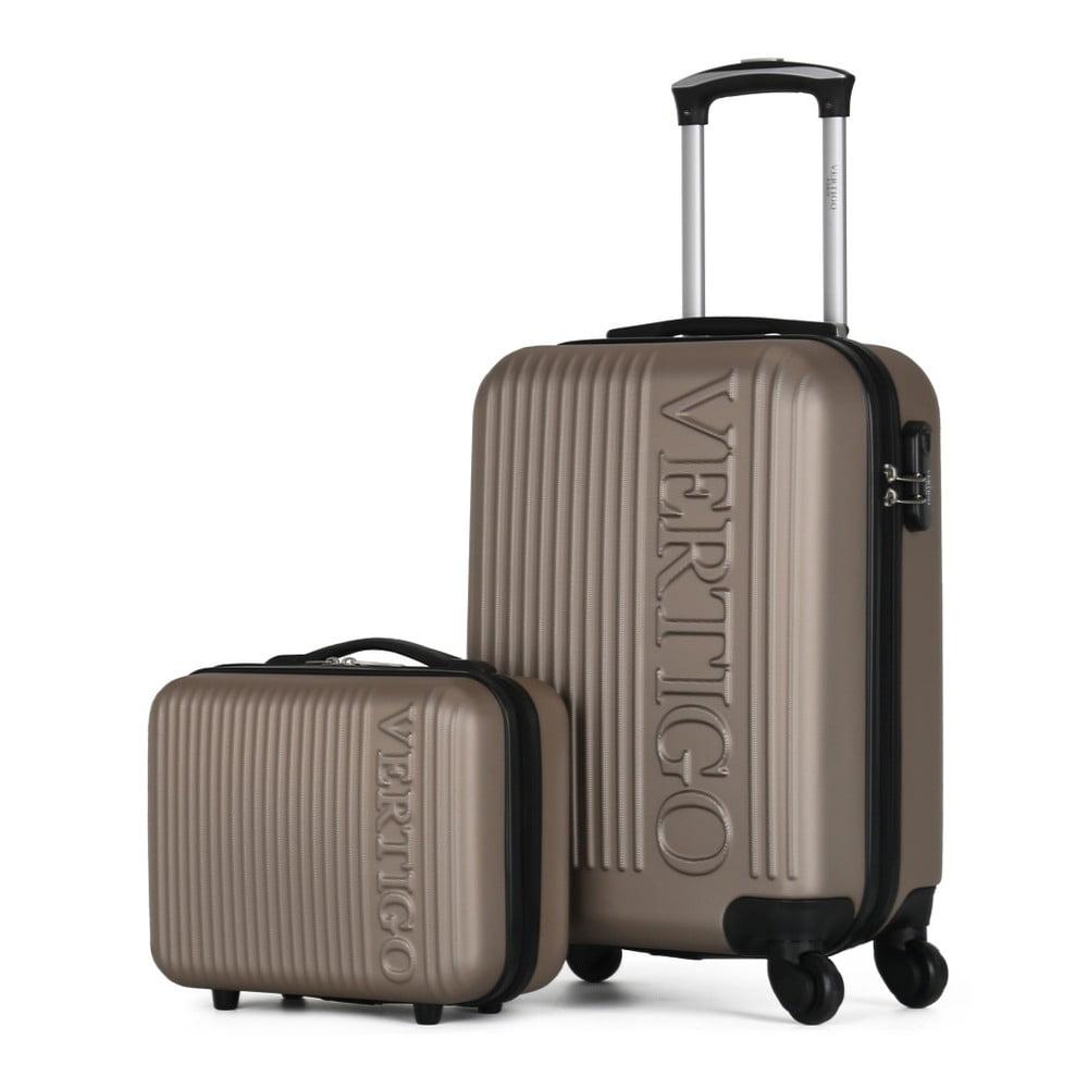 Sada 2 hnědobéžových cestovních kufrů na kolečkách VERTIGO Valises Cabine & Vanity Case