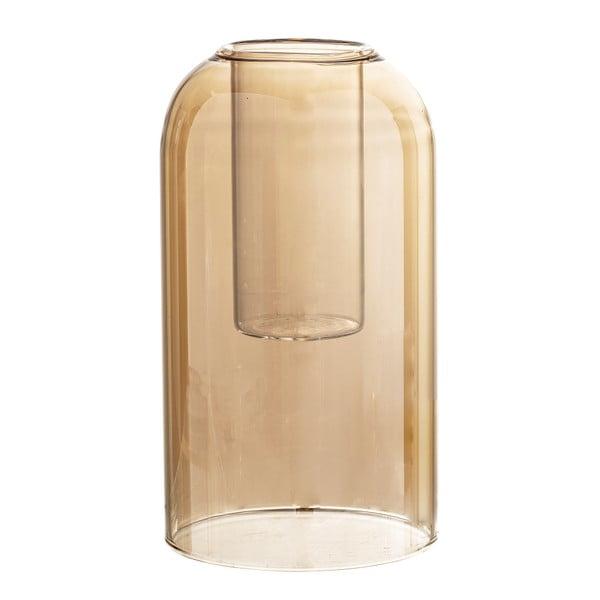 Hnědá skleněná váza Bloomingville Glim