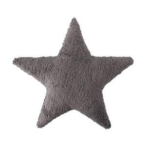 Tmavě šedý bavlněný ručně vyráběný polštář Lorena Canals Star, 54x54cm