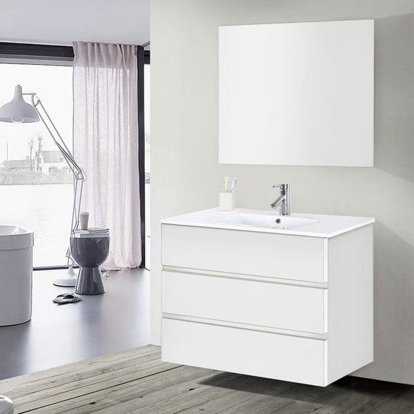 Koupelnová skříňka s umyvadlem a zrcadlem Nayade, odstín bílé, 100 cm