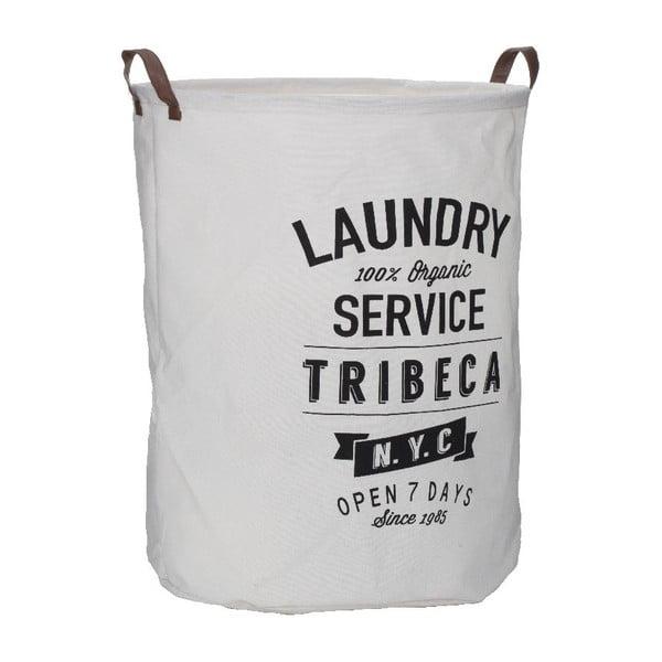 Bílý koš na prádlo s popiskem Premier Housewares Tribeca, 54 l