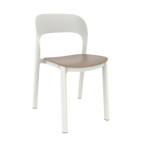 Sada 4 bílých zahradních židlí s pískově hnědým sedákem Resol Ona