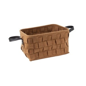 Hnědý úložný košík s koženými úchyty PT LIVING Storage, délka38cm