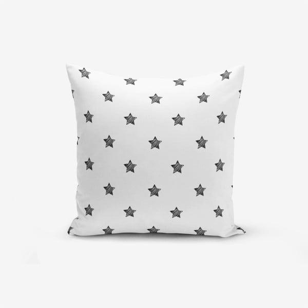 White Background Star fekete-fehér pamutkeverék párnahuzat, 45 x 45 cm - Minimalist Cushion Covers