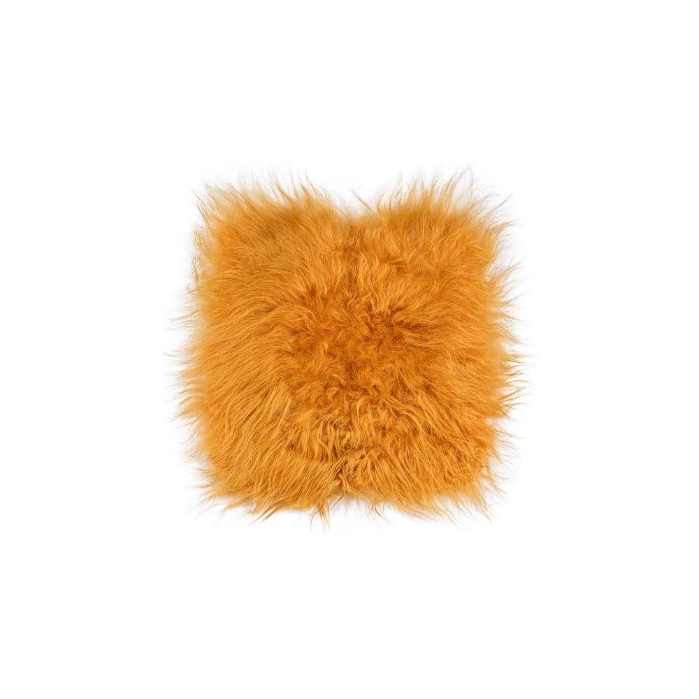 Oranžový kožešinový polštář Loren, 37 x 37 cm
