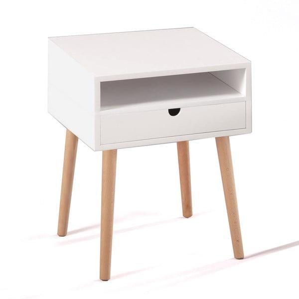 Bílý noční stolek z dubového dřeva se zásuvkou Tomasucci Kyra