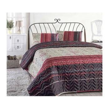 Set cuvertură pat și față de pernă din amestec de bumbac Aries Maroon, 160 x 220 cm