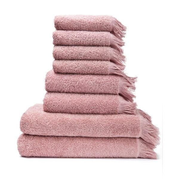 Set 6 ružových bavlnených uterákov a 2 osušiek Casa Di Bassi Bath