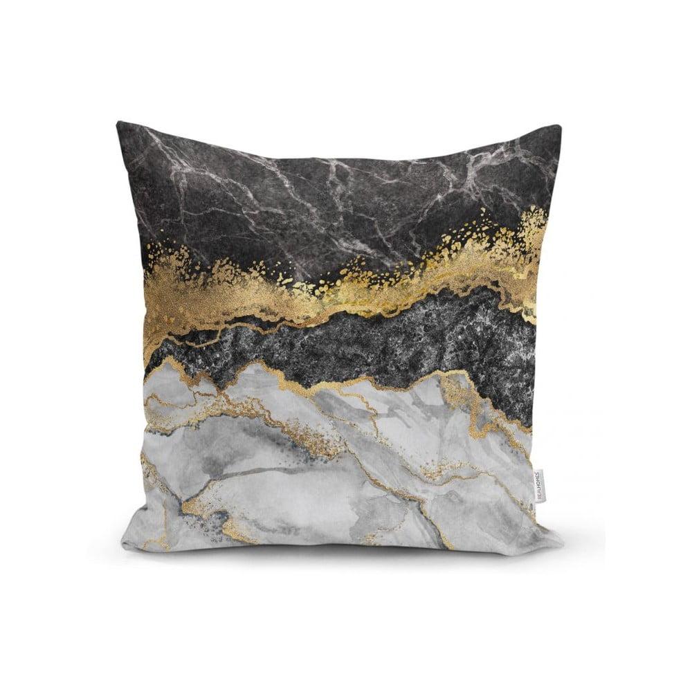 Povlak na polštář Minimalist Cushion Covers BW Marble With Golden Lines, 45 x 45 cm