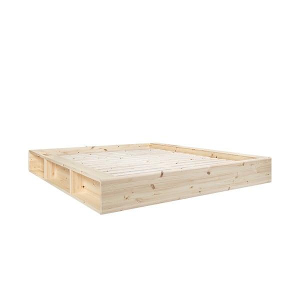 Pat dublu din lemn masiv cu spațiu de depozitare Karup Design Ziggy, 168x205cm