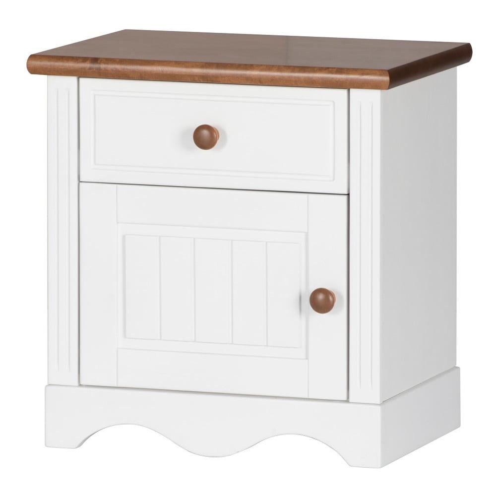 Bílý noční stolek s detaily v březovém dekoru Szynaka Meble Princessa
