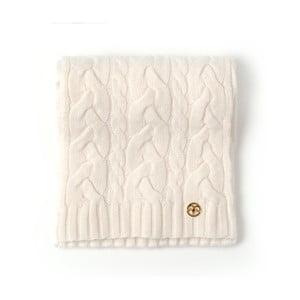 Krémová pletená kašmírová šála Bel cashmere Brad, 180x30cm