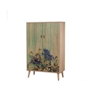 Dřevěná skříň Ananias Flower, výška 127cm