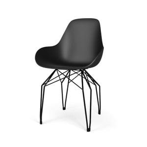 Černá židle s černým podnožím Kubikoff Diamond