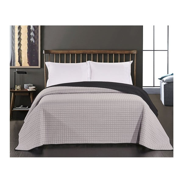 Paul fekete-szürke kétoldalas mikroszálas ágytakaró, 170 x 270 cm - DecoKing
