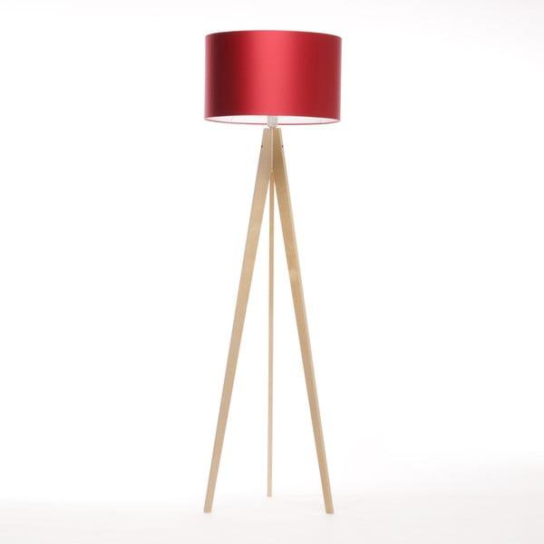 Červená volně stojící lampa Artista, přírodní bříza, 150 cm