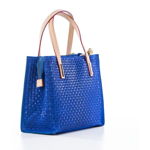 Modrá kožená kabelka Federica Bassi Matar