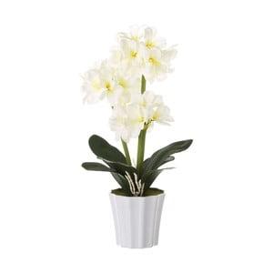 Bílý květináč s umělou květinou Unimasa Clivia