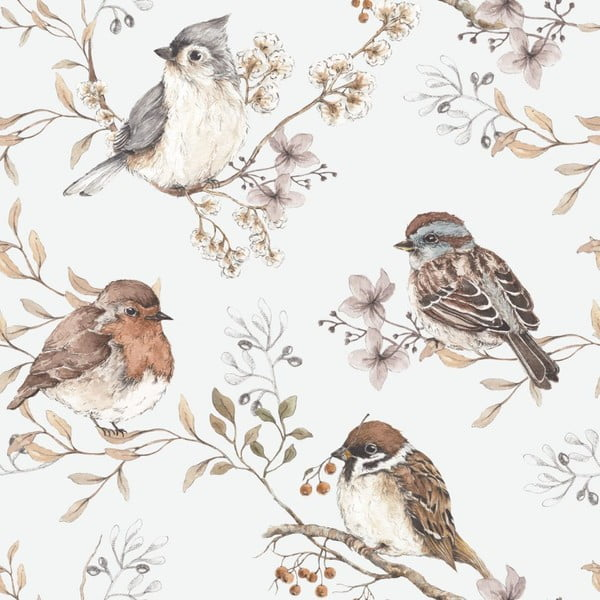Nástěnná samolepka s motivem ptáčků v šedé barvě Dekornik
