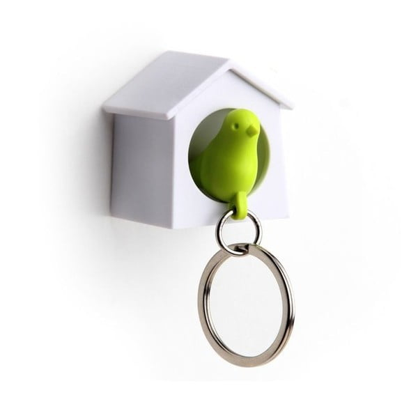 Věšák na klíče vrabčák v budce MINI, zelená