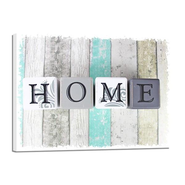 Canvas Shabby Green Home fali kép, 32 x 42 cm - Styler
