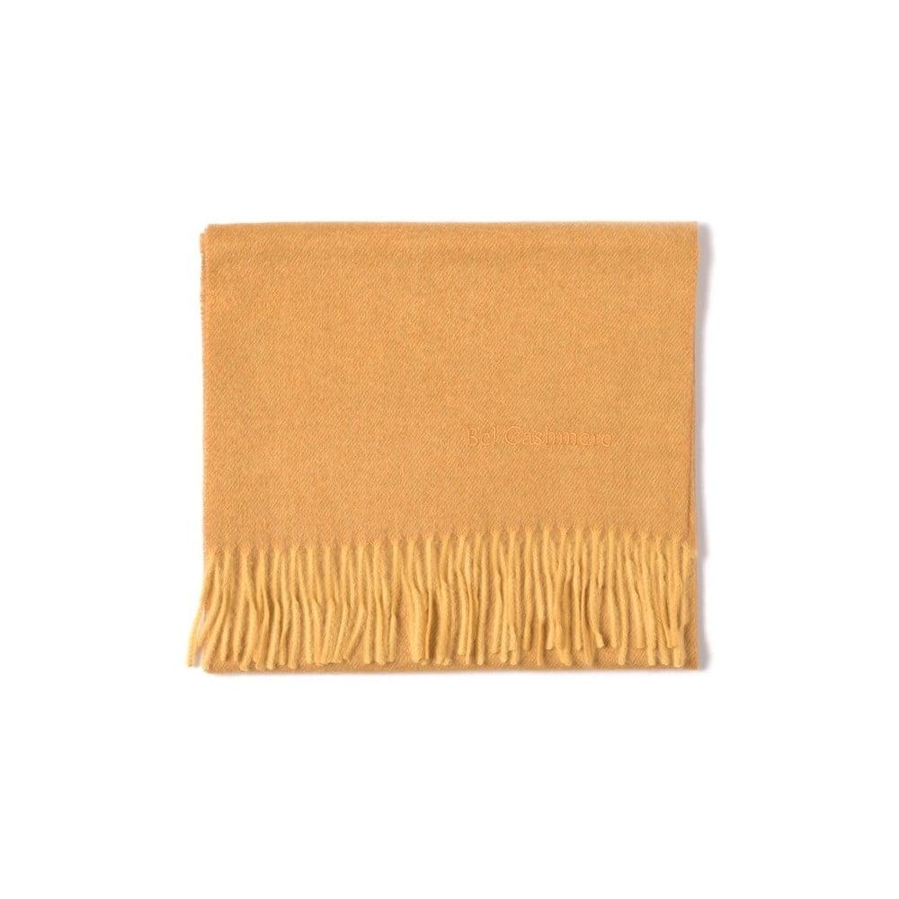 Hořčicově žlutá kašmírová šála Bel cashmere Dina, 180 x 30 cm