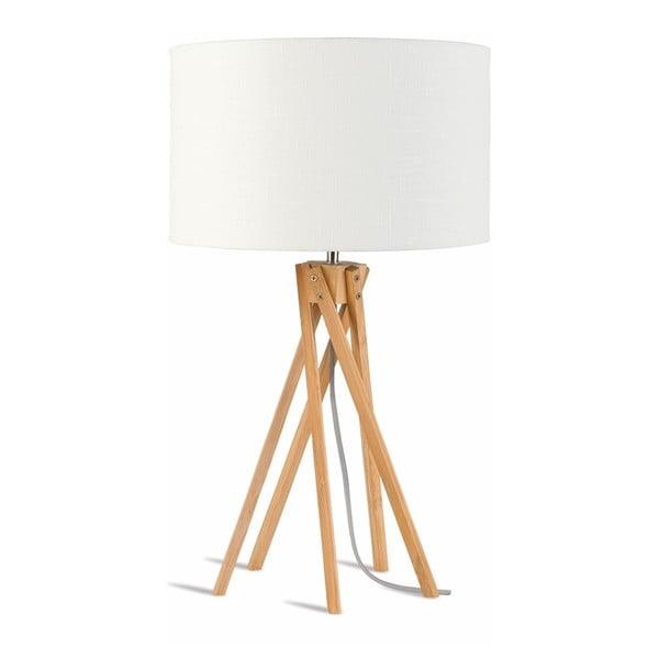 Stolní lampa s bílým stínidlem a konstrukcí z bambusu Good&Mojo Kilimanjaro