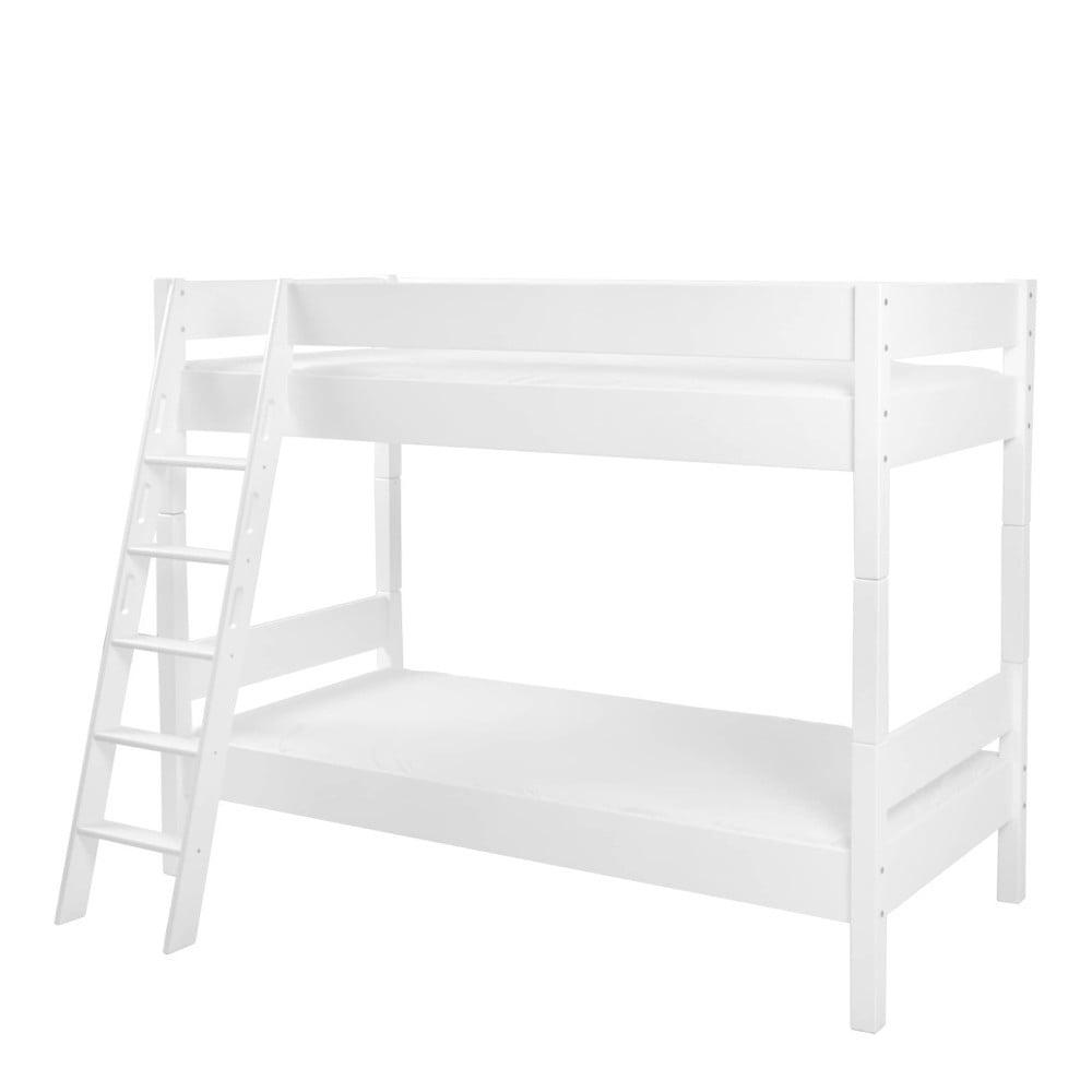 Bílá dětská patrová postel z masivního bukového dřeva Mobi furniture Erik, 200x90cm