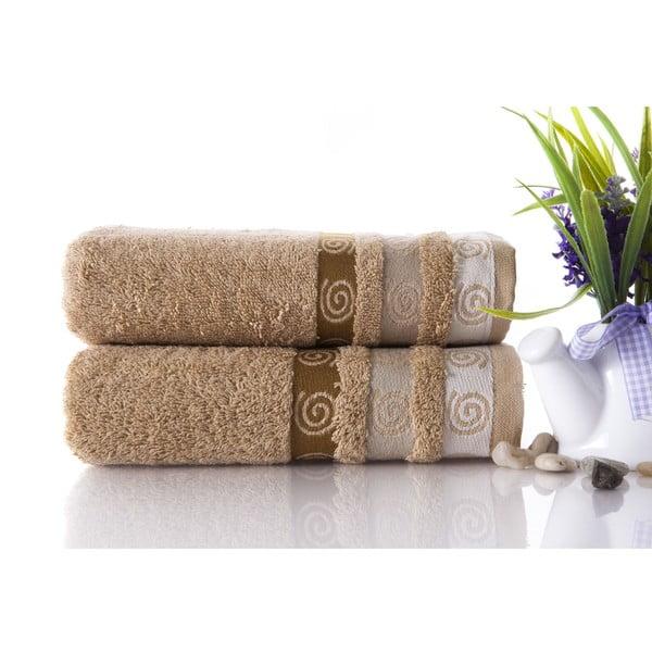 Set dvou ručníků Truva Light Brown, 50x90 cm