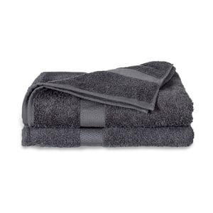 Šedý ručník Twents Damast Kleur, 50 x 100 cm