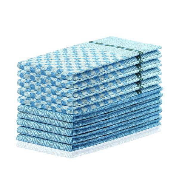 Sada 10 modrých bavlnených utierok DecoKing Louie, 50 x 70 cm
