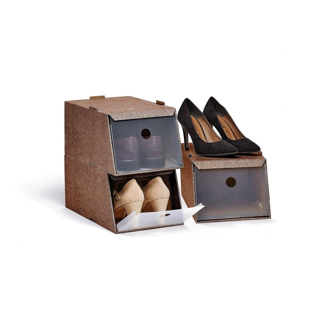 Sada 3 hnědých úložných boxů na obuv Domopak