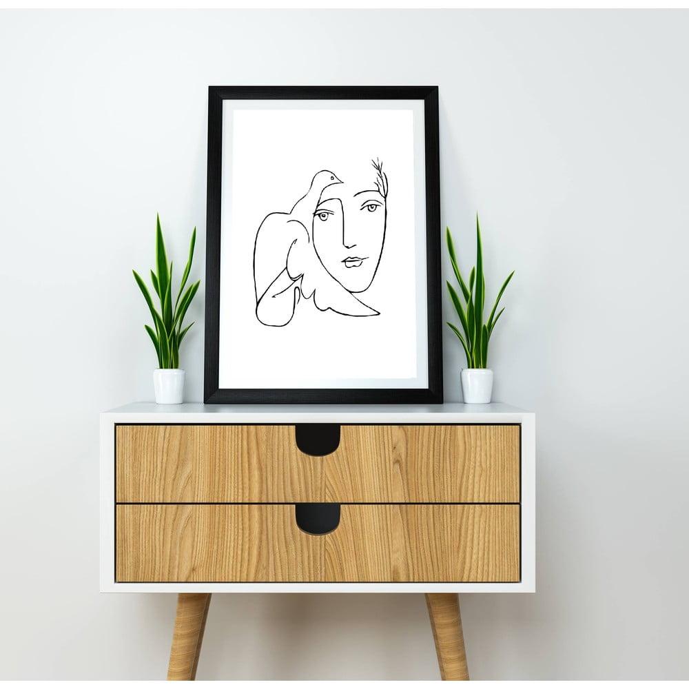 Plakát Blue-Shaker Line Drawing Picasso, 30 x 40 cm