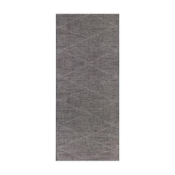 Antracitově šedý běhoun vhodný do exteriéru Elle Decor Curious Blois, 77 x 200 cm