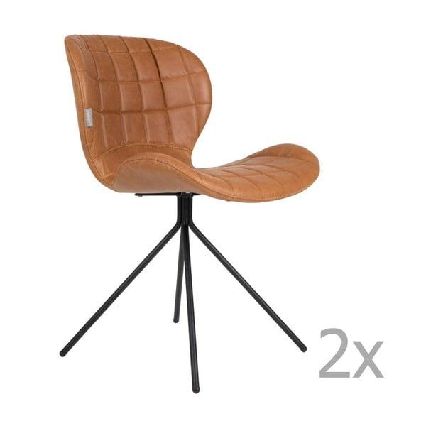 Sada 2 hnedých stoličiek Zuiver OMG LL