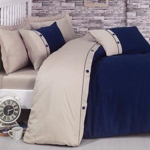 Lenjerie de pat cu cearșaf din bumbac satinat Fashion Stripe, 200 x 220 cm