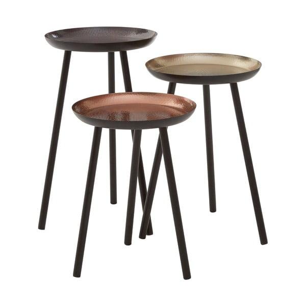 Sada 3 stolečků s kovaným efektem Side Tables, 30 cm
