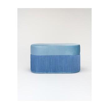 Puf cu husă din catifea Velvet Atelier, albastru de la Velvet Atelier