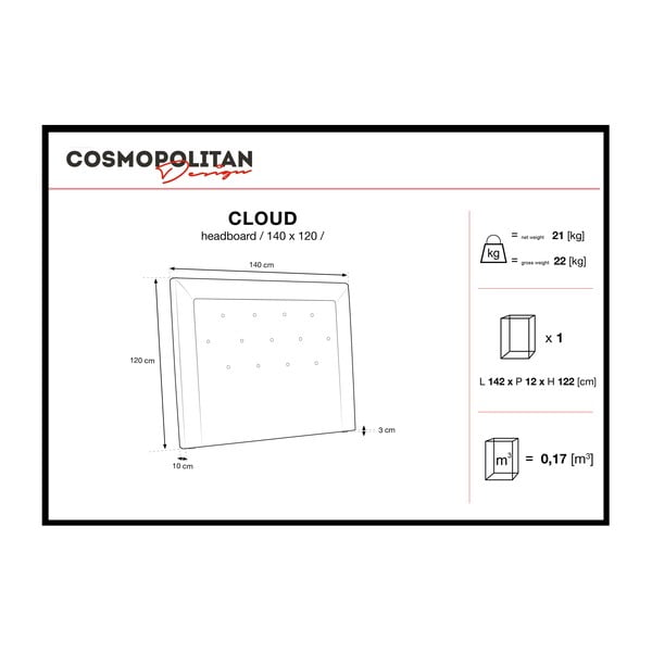 Šedé čelo postele Cosmopolitan Design Cloud, šířka 140cm